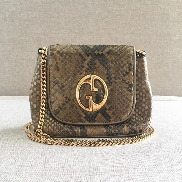 d62dabc0ad3 Gucci Handbags - GUCCI Python 1973 Small Shoulder Bag